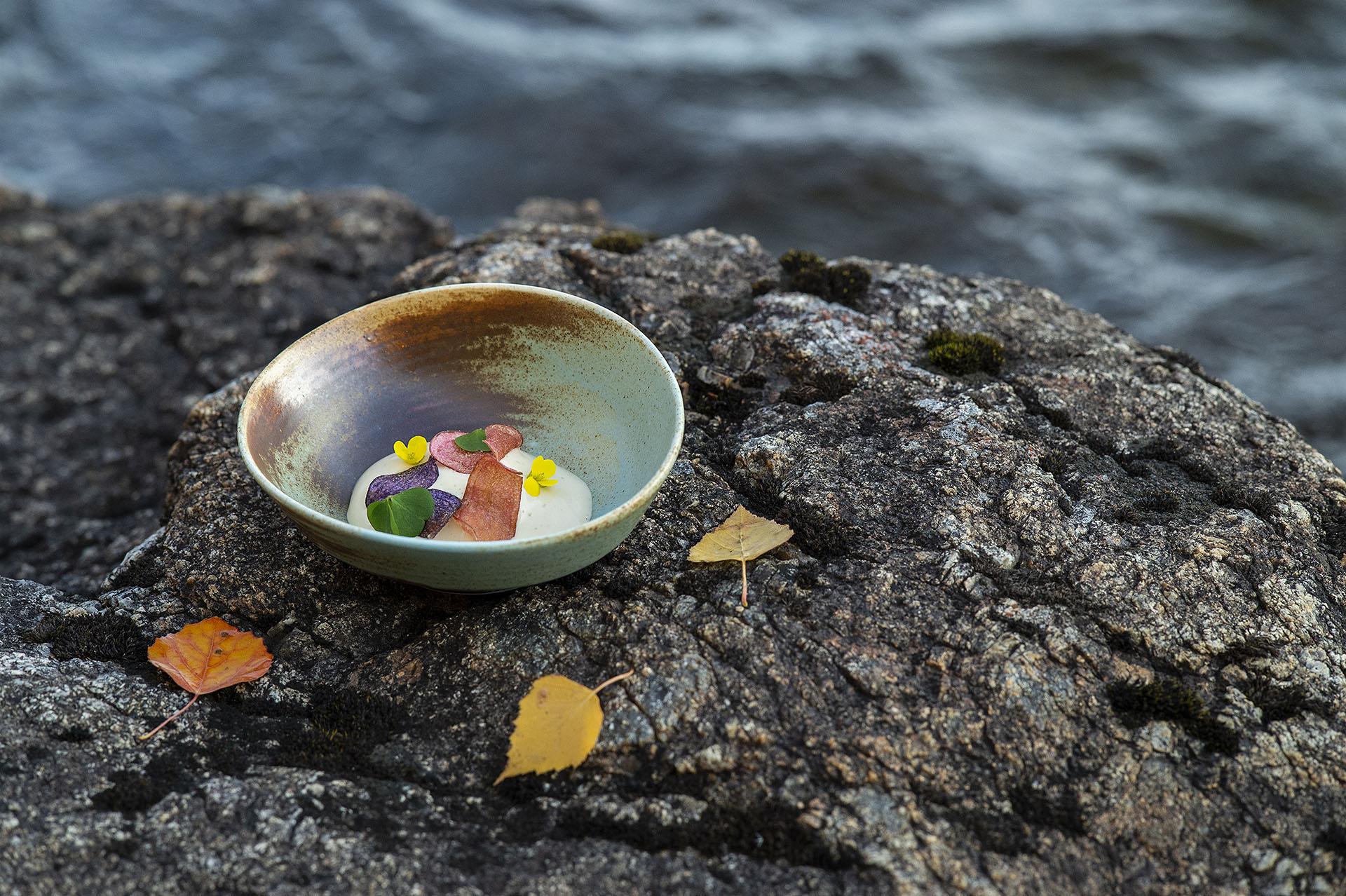 Maträtt från Restaurang Wild River Mårdseleforsens sommarkrog