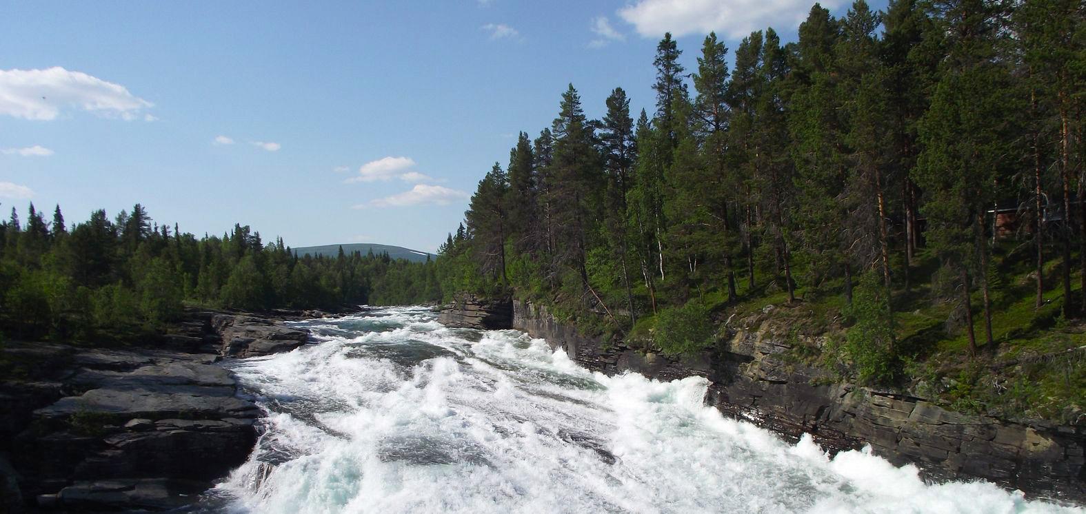 Vy över forsande vatten vid Vindelåforsens stugby